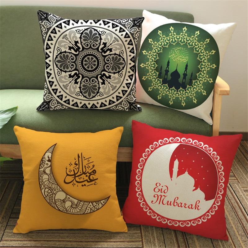 고품질 이슬람교 이슬람 패턴 인쇄 45x45cm 린넨 베개 커버 결혼식 호텔 사무실 가정 장식 소파 의자 자동차 선물