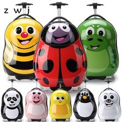 Мультяшная Сумка На Колесиках + рюкзак 3D Животные Детский чемодан/АБС-пластик Дорожный чемодан на колесиках/детский Багаж