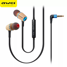 Awei ES-80TY High Quality Wooden 3.5MM In Ear Earphone Earbud Heavy Bass with Microphone Noise Cancelling For Phone