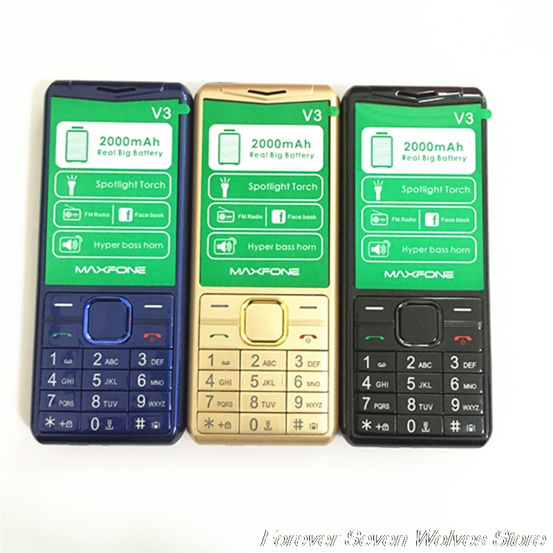 GSM 2G Feature Phone V3 Dual Sim Cards Old Man Phone 2000mAh Battery Support Russian Arabic Keyboard FM MP3 MP4 Strong Torch