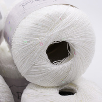 White Polyester Linen Yarn For Knitting Crochet Hand Knitting Sequin Paillette Thread Eco Friendly Sweater Scarf