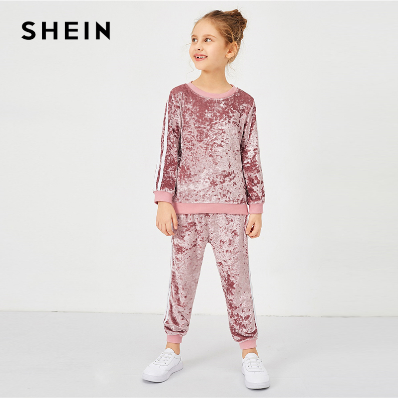 SHEIN Girls Pink Contrast Tape Side Velvet Casual Pullover And Pants Two Piece Set 2019 Fashion Long Sleeve Children Clothes contrast striped side bodysuit
