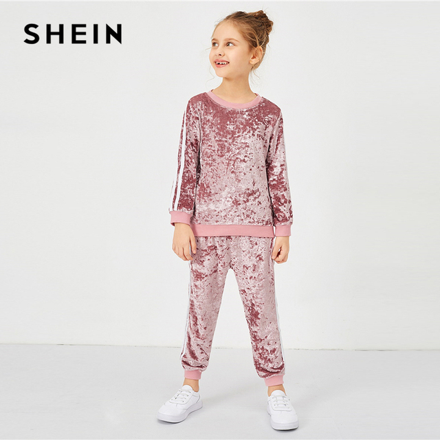 SHEIN/Розовый Повседневный вельветовый пуловер с контрастной лентой и штаны, комплект из двух предметов, 2019 г., модная детская одежда с длинными рукавами