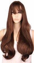 Qqxcaiw длинные вьющиеся партии косплей для женщин дамы Natrual коричневый 60 см синтетические парики волос