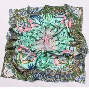 Image 4 - Phong Cách cao cấp Họa Tiết VUÔNG 100% Lụa Hai Dây Khăn Len Nữ Đầu Khăn Hijab Khăn Choàng Foulard 88*88cm