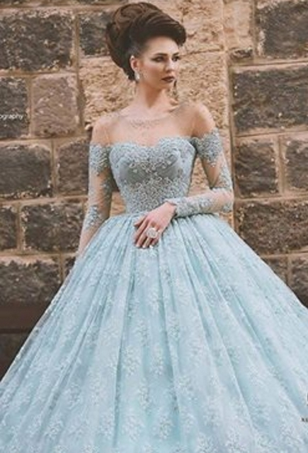7214147895b Sexy Long Sleeve Lace Ball Gown Prom Dresses 2016 Girl Off Shoulder Formal  Evening Gowns Dresses