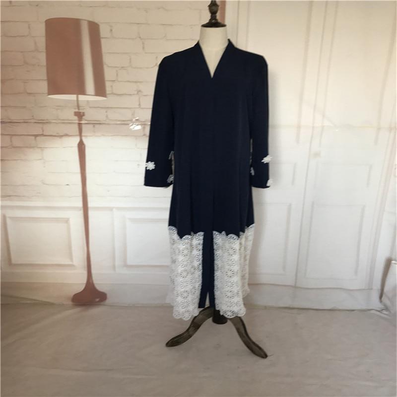 Povremni musliman Maxi haljina čipka patchwork dugi rukav vestidos - Nacionalna odjeća - Foto 6