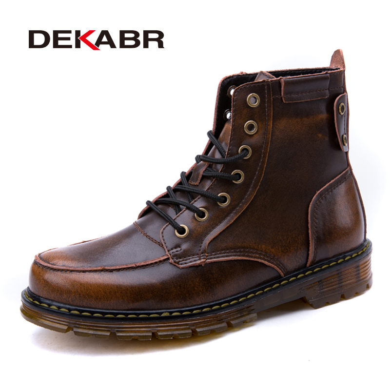 DEKABR 2018 Men Boots Genuine Leather Lace-Up Men Fashion Shoes Retro Design Boots Tooling Boots High Quality Casual Botas retro engraving and lace up design women s sweater boots