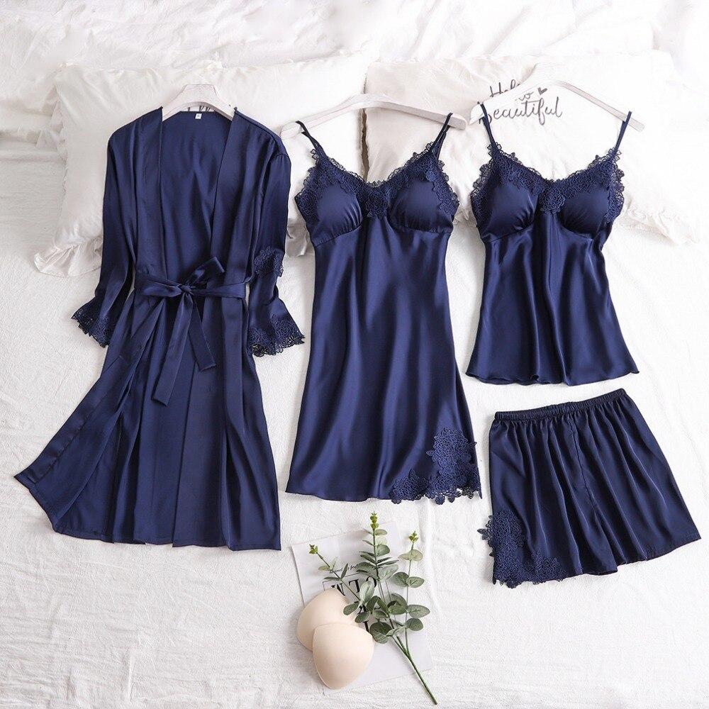 4Pcs Sets Women Sexy Lace Sleepwear Satin Nightwear Lingerie Pajamas Suit Soft Silk Pyjamas Tops Cami Shorts Covers Pijama Mujer