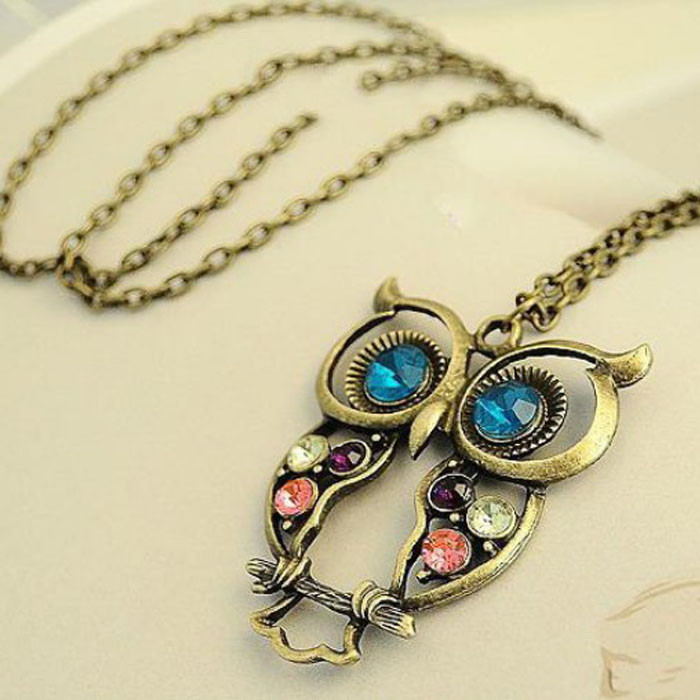 Charm Women Crystal Owl Pendant Necklace Long Necklace Sweater Chain Accessories
