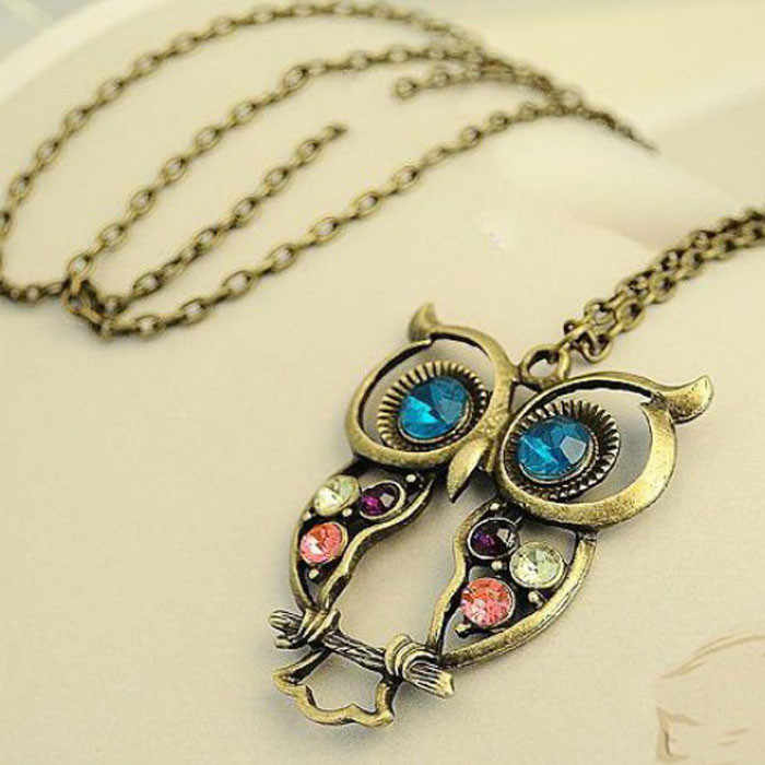 Lady Crystal Blue Eyed Owl Long Chain Pendant Sweater Coat Necklace Boot Charm Handmade Rhinestone Bling Women AccessorieS