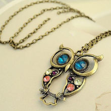 Lady Crystal Blue Eyed Owl Long Chain Pendant Sweater Coat Necklace Boot Charm Handmade Rhinestone Bling Women AccessorieS(China)