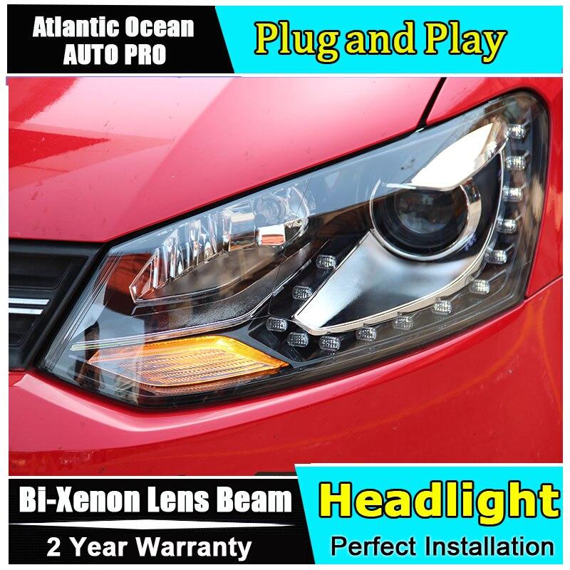 Новый головной свет автомобиля Стайлинг для VW polo фары 2011 2015 для VW polo светодиодные передние фары Bi xenon двойной объектив HID комплект led drl