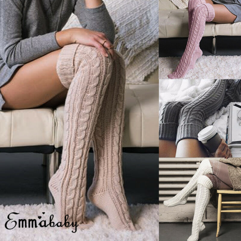 Women Crochet Knitted Stocking Leg Warmers Boot Cover Lace Trim Legging Stockings