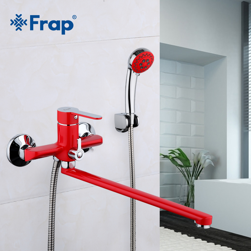 все цены на Frap 1 set 340mm Outlet pipe Bath shower faucet Brass body surface Spray painting Red shower head F2243 онлайн