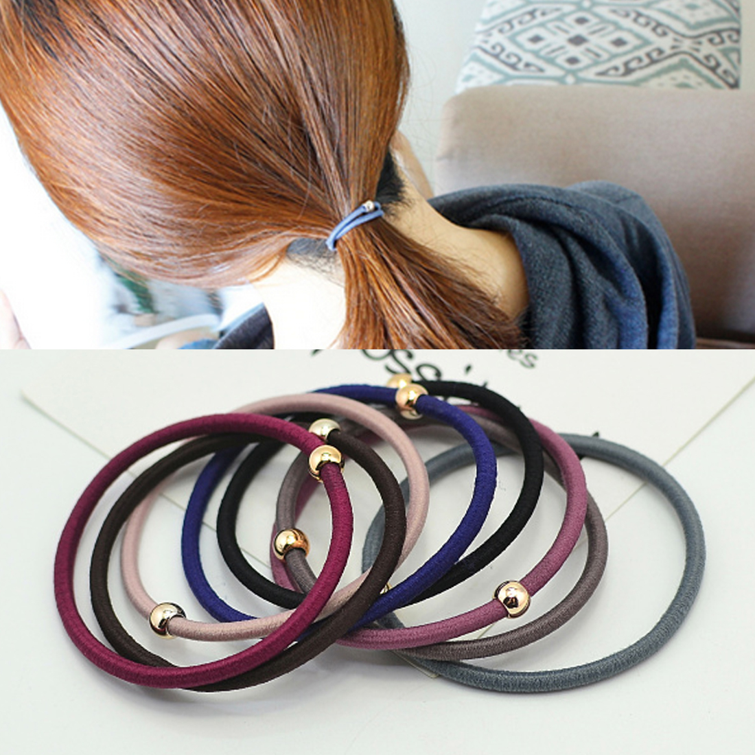 10PCS/Lot Simple Colorful Headband Gold Beans Hair Accessories Elastic Hair Bands Ponytail Holder Rubber Band Gum for Women Girl
