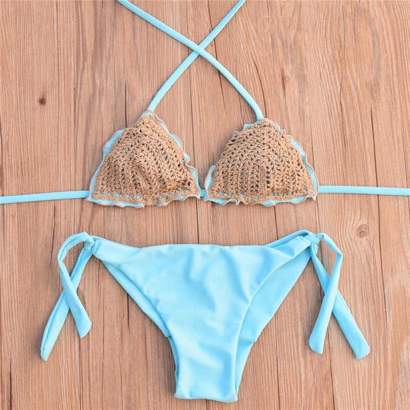e970c7f7704d7 ... Sexy Crochet Bikini set Swimwear Women Halter Knitted Swimsuit Bathing  Suit Brazilian Bikinis mujer biquini maillot