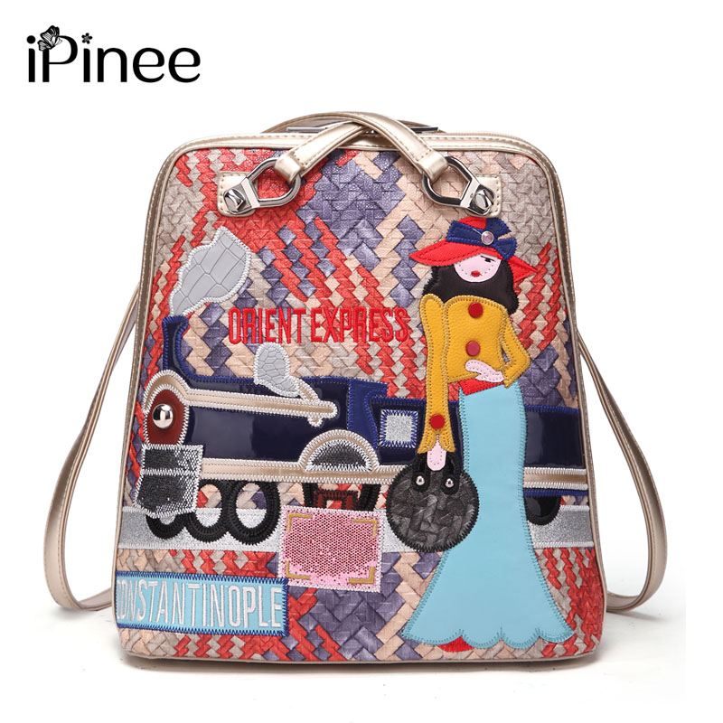 IPinee New 2018 Designer Women Shoulder Bags Casual Lady Bags Weave Vintage School Backpacks For Teenage Girls Embroidery