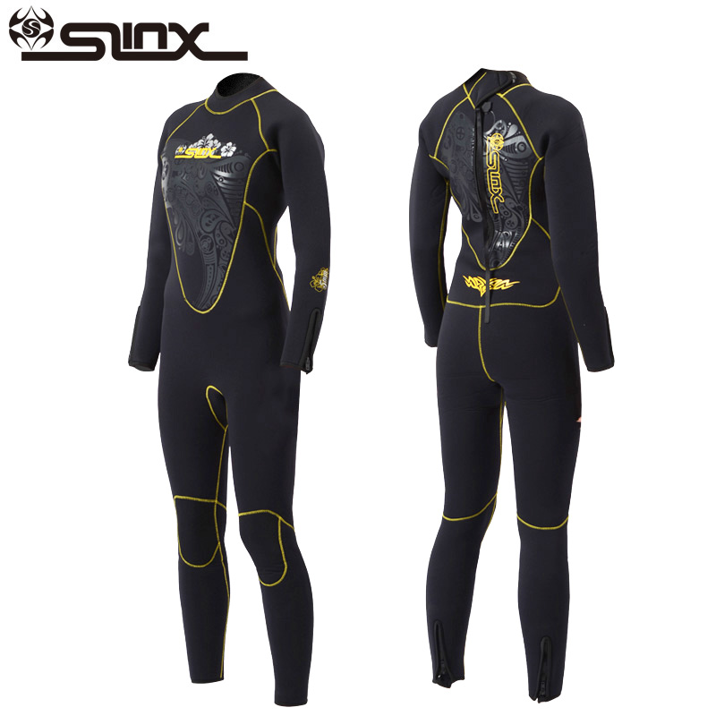 Slinx 5mm Women Scuba Dive Wet Suit Long Sleeve Neoprene Fleece Lining Warm Wetsuit for Winter Surfing Snorkeling Spearfishing slinx 1106 5mm neoprene scuba diving fleece lining wetsuit snorkeling surfing swimwear jumpsuit triathlon microvillus jellyfish