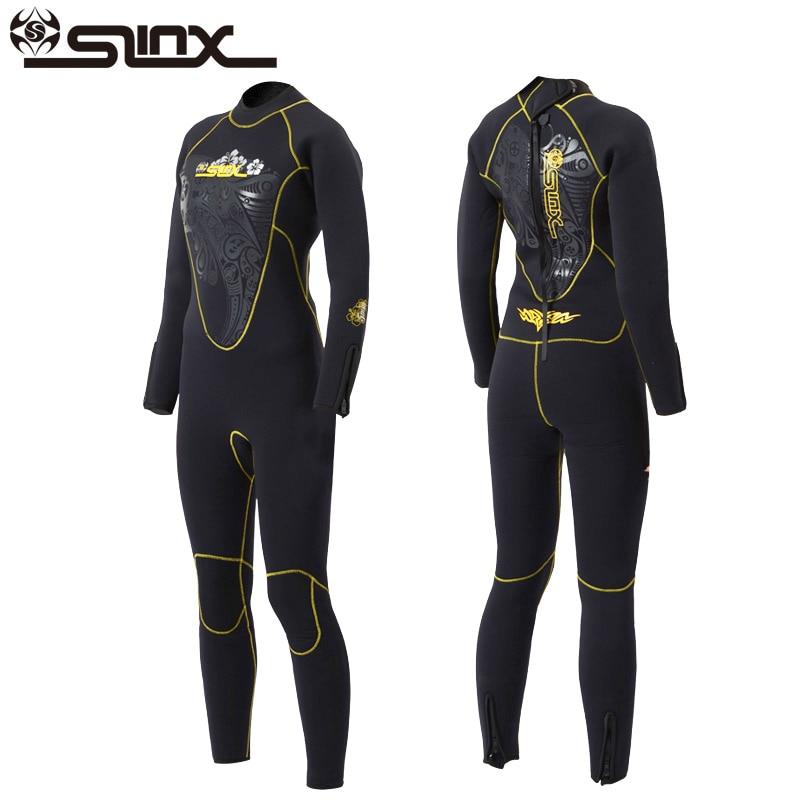 Slinx 5mm mujeres buceo traje de manga larga de neopreno forro polar cálido traje de invierno de surf snorkel de pesca submarina