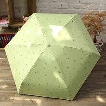 Leichte Damen Regenschirme Fünf Falten Manuelle 190g Bleistift Klar Regen Regenschirm Grün Dunkelblau Bowknot Muster