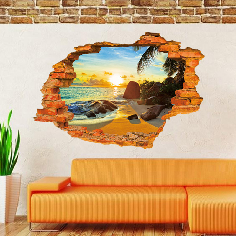 Wall Stickers Tropical Beach Broken Hole DIY Personalized Furniture Decoration Decals Creative Home B