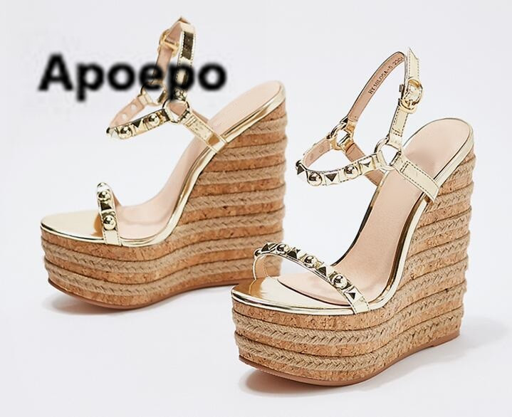 Sales Summer Sandals Cut-out High Heels Dress Shoes Sexy Gold Studded Wedge Sandals For Women Rope Braided High Platform shoes цена 2017