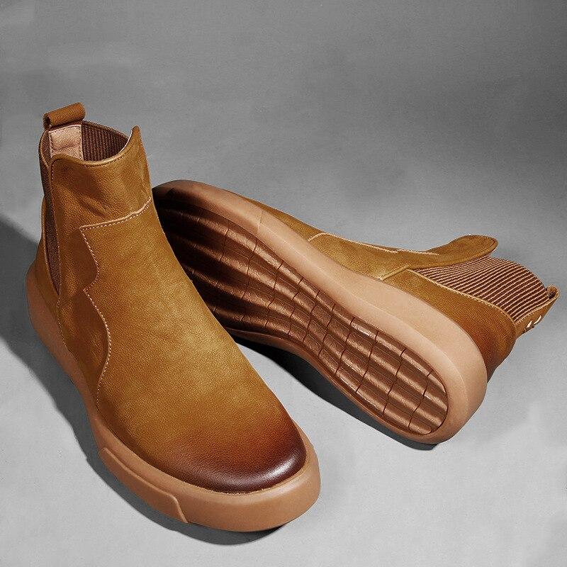 2019 Spring Autumn Men Shoes Genuine Leather Chelsea Botas Cow Leather Men Casual Shoes High Top Fashion Men Footwear KA1082