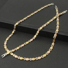 Новинка, Винтажные Ювелирные наборы из нержавеющей стали, золотой цвет, браслет+ ожерелье, набор для женщин, sfksardi