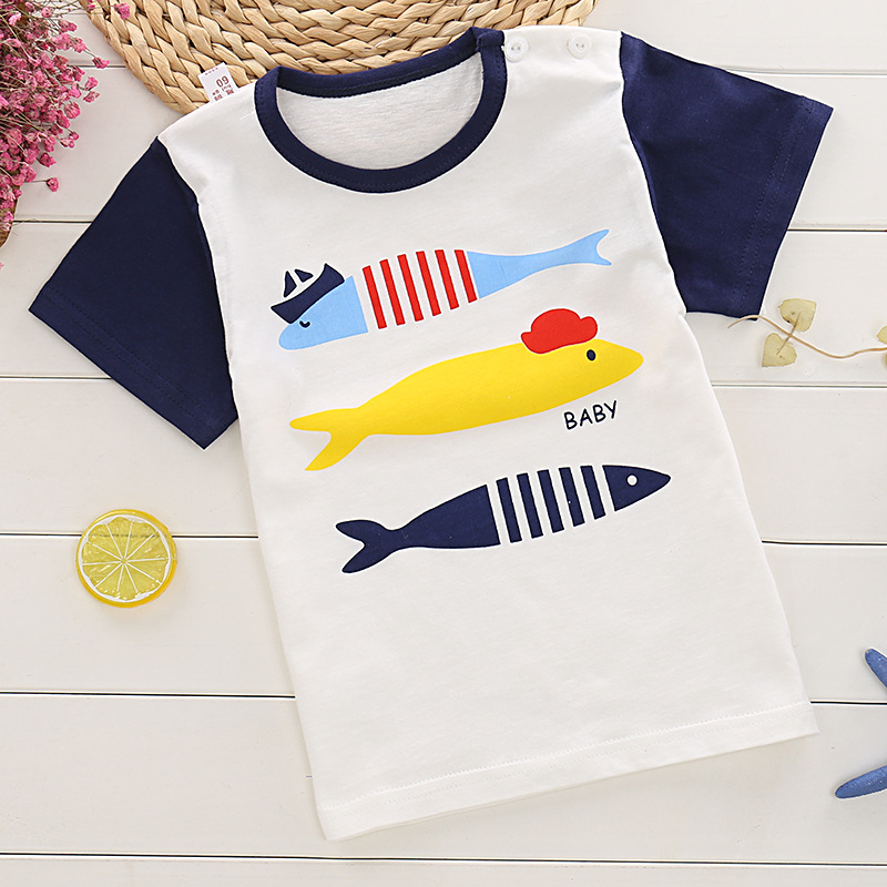 Boys T-Shirts Kids Cartoon Short Sleeve Tops Tees Printed Animals Girls Children Clothing Cotton Summer T Shirt For Boys 4 12y 2017 new boys t shirt at cartoon children t shirts for boys girls tees cotton tops kids clothes and trousers
