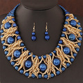 Statement necklace Fashion Women Brand vintage collar multilayer chain metal weaving big pearl Necklaces & Pendant jewelry set