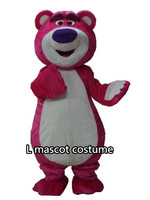 Pink Bear Mascot Costume Cartoon Character Clothing Fancy Dress