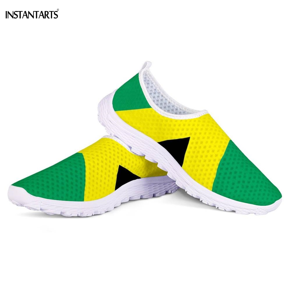 INSTANTARTS Jamaican Flag Pattern Woman Man Running Shoes Breathable Outdoor Slip On Sneakers Athletic Sports Mesh Shoes Adults