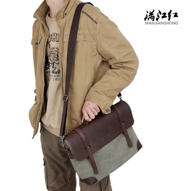 64b95c5a2 man work bags crazy horse leather briefcase shoulder bags laptop crossbody  messenger bolsa masculina fashion men's business bags-in Briefcases from  Luggage ...
