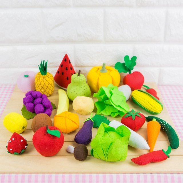 New 14 Styles DIY Felt Fruits and Vegetables Mother Handmade Sewing For Kids Cloth Toys Felt DIY Package