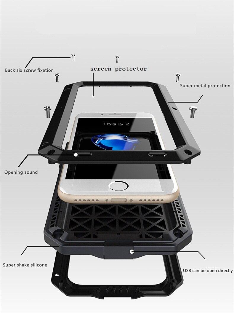 Цена за I7/7 Плюс Роскошный Doom Броня Жизнь Шок Dropproof Противоударный Металл Алюминий + силиконовый Защитный Case для IPhone 7 6 S 6 S плюс