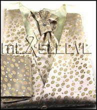New arrival free shipping wedding man's  waistcoat (vest+ascot tie+cufflinks+handkerchief)