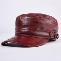 100% Genuine Leather Baseball Cap New Men's Real Leather Cap Male Adult Solid Adjustable Army Hat Winter Warm Peaked Cap B 7204