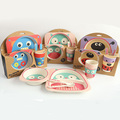 High Quality Baby Kids Safe Zoo Dinnerware Set Eco Friendly Bamboo Fibre Children's Plate Dishes Bowel Cup Spoon