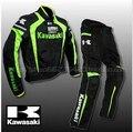 Últimas kawasaki kawasaki motocicleta juego de carreras populares marcas de ropa ropa de abrigo a prueba de viento hoja traje de montar