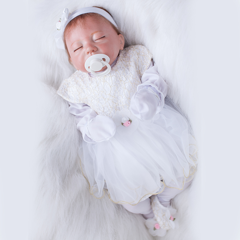 20 Inch Reborn Silicone Dolls With White Princess Dress Kids Toys for Girls YDK-5R3 Baby-reborn Children Birthday Gifts Tsum