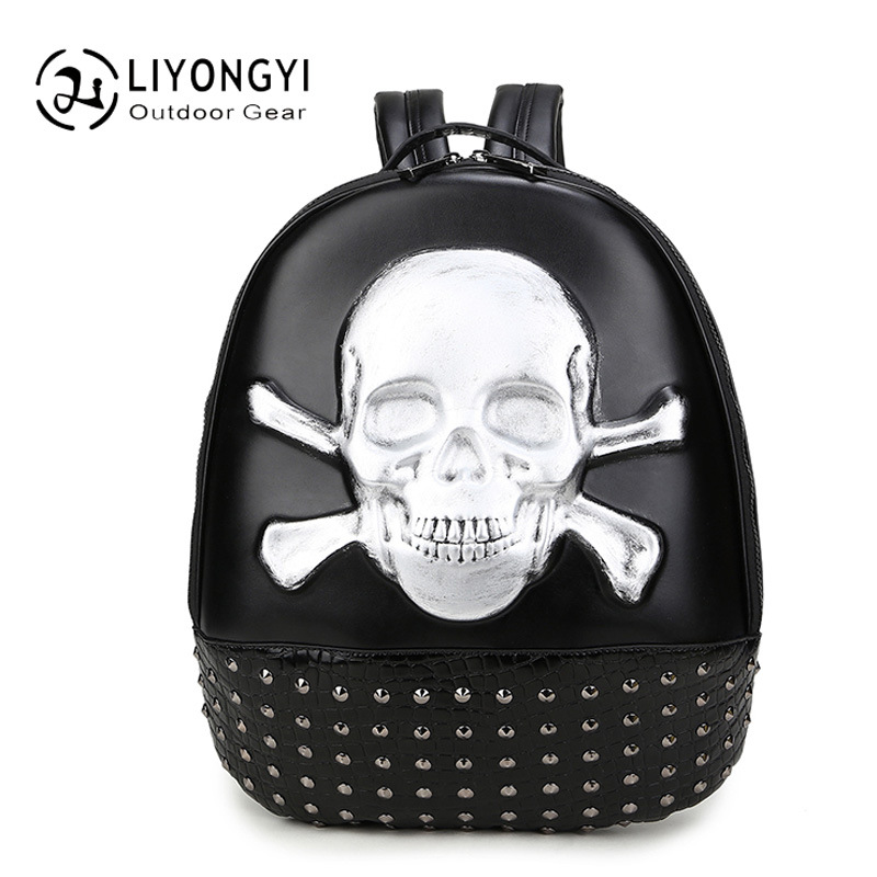 New Personality 3D skull leather Small Bag Women Backpack Female shoulder bag School Bags For Teenagers Girls Casual Travel Bag male bag vintage cow leather school bags for teenagers travel laptop bag casual shoulder bags men backpacksreal leather backpack