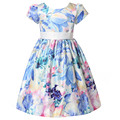 Fashion Girl Party Dress Princess dress for Girls Flower Bow Kids Dress Tribute Silk Floral Girls Clothes robe fille enfant 2-8T