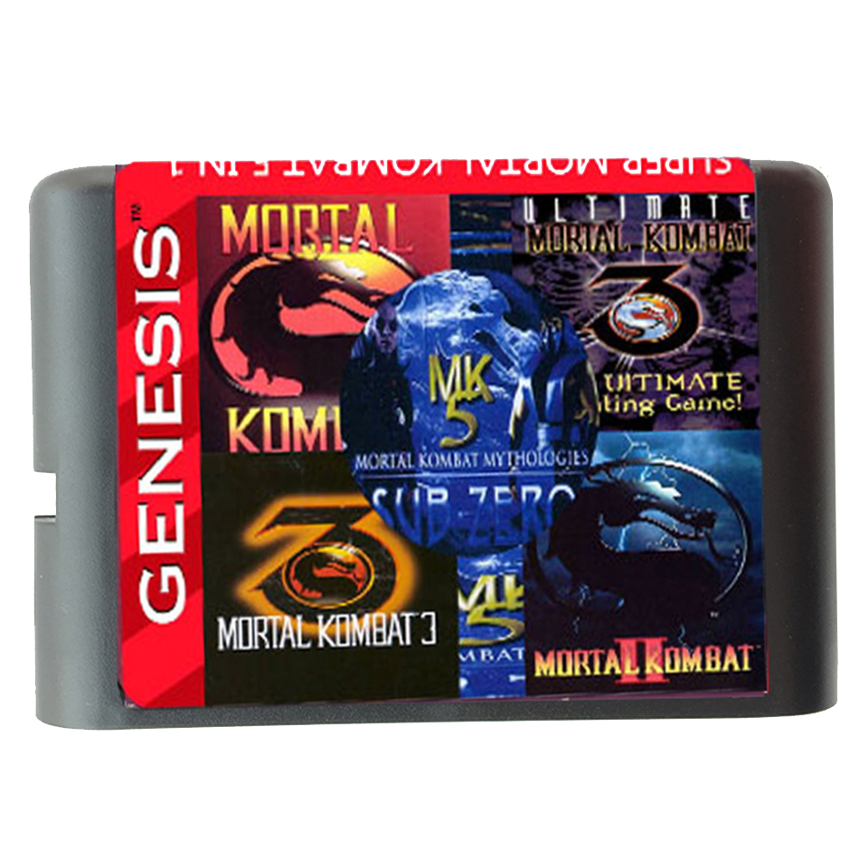 5 In 1 Game cartridge With Mortal Kombat 1 2 3 4 5 For SEGA GENESIS MegaDrive 16 bit Game Cartridge