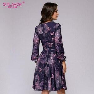 Image 3 - S. FLAVOR kobiety drukowanie sukienka trapezowa elegancki fioletowy kolor z długim rękawem krótka sukienka nowa wiosna lato 2020 vintage vestidos
