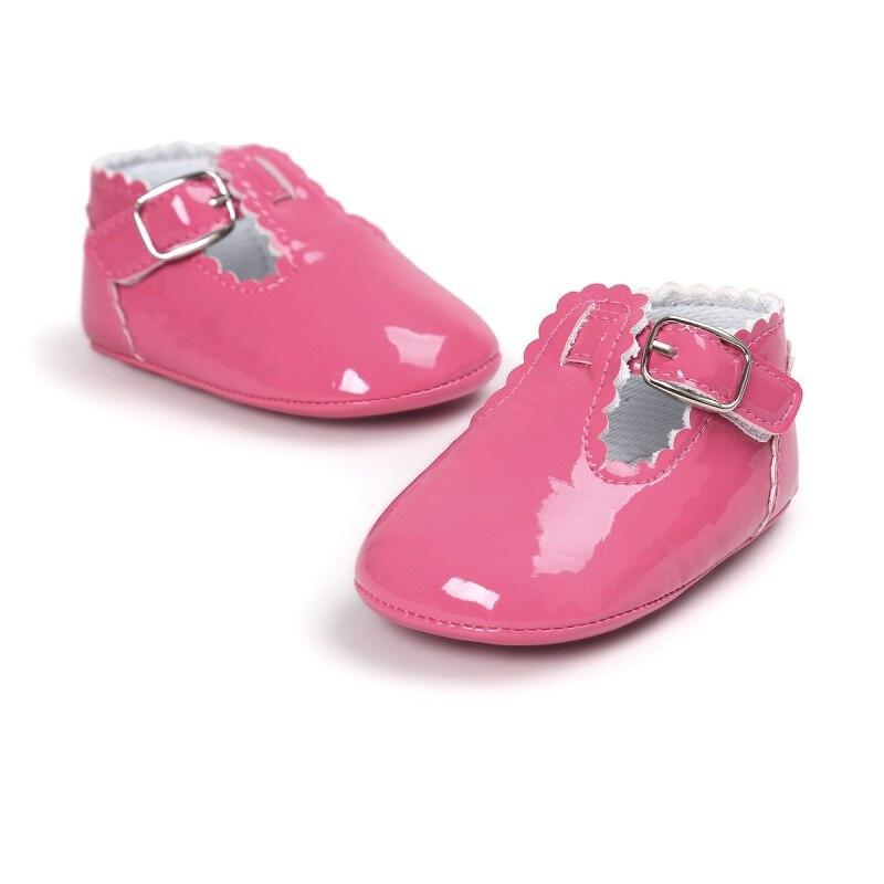 Vintage Toddler Infant Baby Girl Spring PU Solid Color Princess Shoes Anti-slip Crib Shoes Prewalker