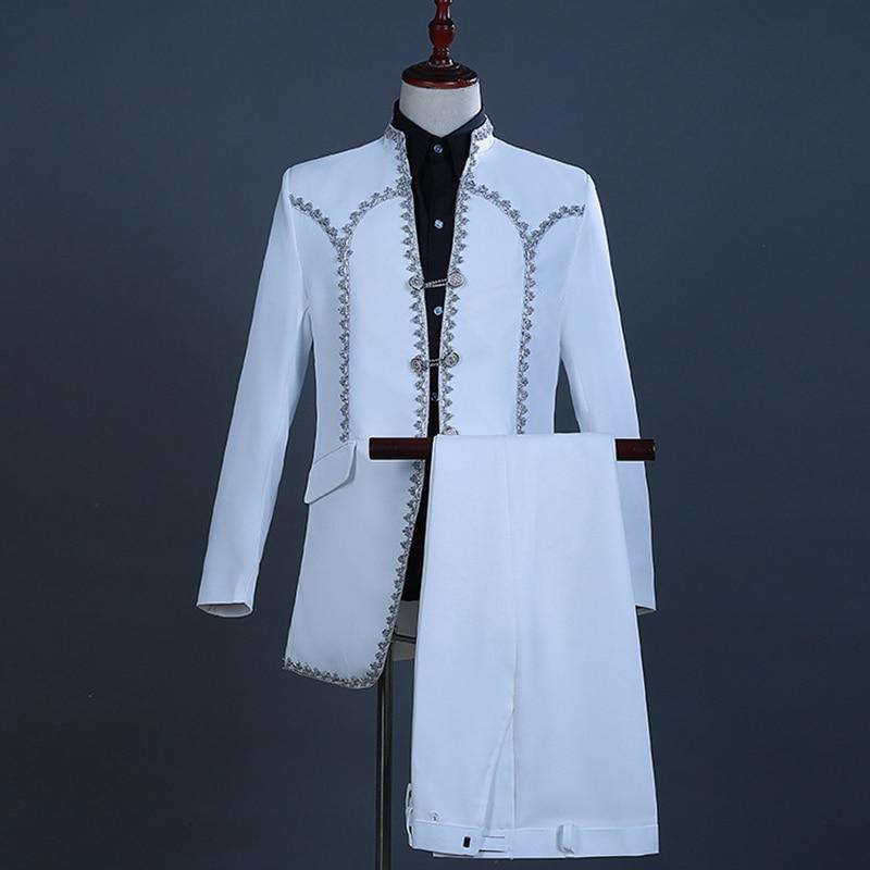 Mediaeval Male Tuxedo Set Formal Stage Costumes Men's Magician Set Costume Performance Show Suit Blazer(Jacket+Pants)