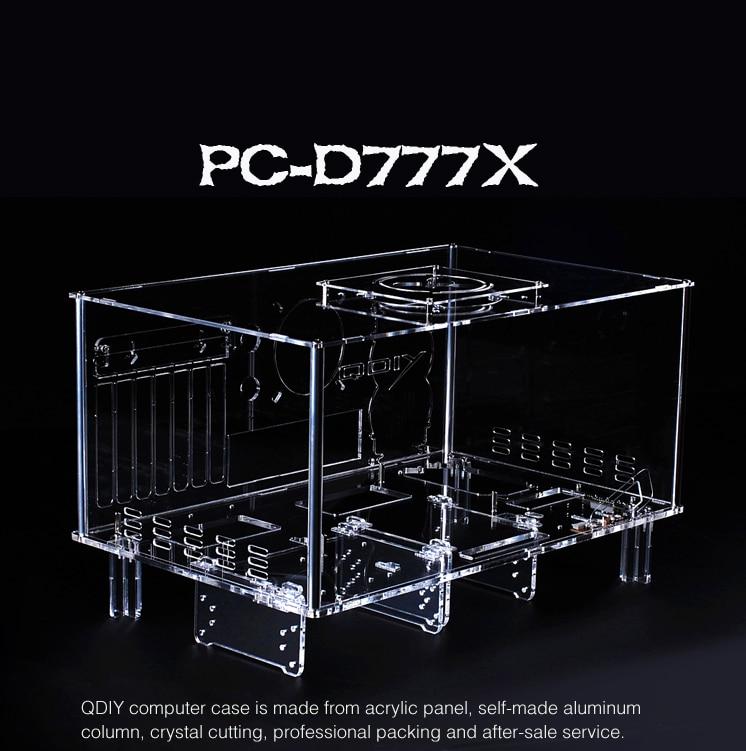 QDIY PC-D777XM Horizontale MircoATX HTPC Acrylique Transparent De Bureau PC Ordinateur Cas