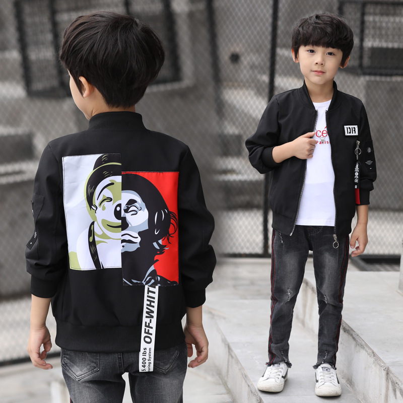 Coat Jackets Baseball-Sweatshirt Boys Windbreaker Teenager Zipper Autumn Kids Outerwear