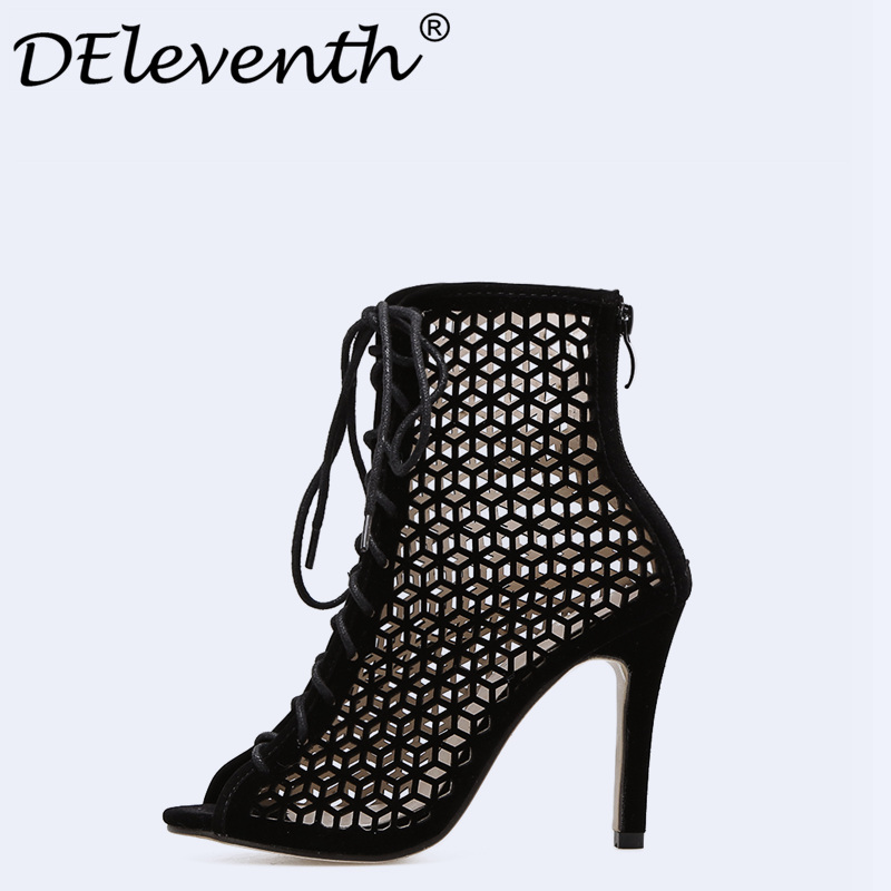 DEleventh Summer Sandals Gladiator Stiletto High Heels Women Sexy Front Open Cross Strap Stilettos Pumps Rome Shoes Woman Size40 gold silver pink gladiator sandals summer high heels platform shoes woman buckle strap pumps casual women shoes plus size 33 43